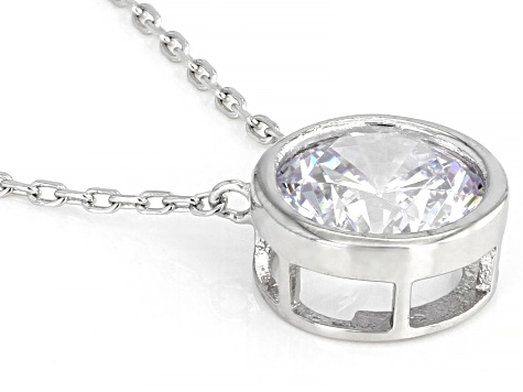 White Cubic Zirconia Rhodium Over Sterling Silver Necklace 3.46ctw