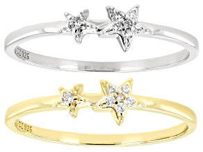 White Cubic Zirconia Rhodium And 18K Yellow Gold Over Sterling Silver Star Ring Set 0.12ctw