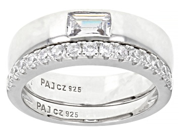 Picture of White Cubic Zirconia Rhodium Over Sterling Silver Band Rings 1.03ctw