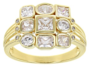 White Cubic Zirconia 18K Yellow Gold Over Sterling Silver Ring 3.04ctw