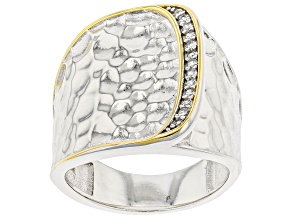 White Cubic Zirconia Rhodium And 14k Yellow Gold Over Sterling Silver Ring 0.16ctw