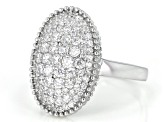 White Cubic Zirconia Rhodium Over Sterling Silver Ring 1.76ctw