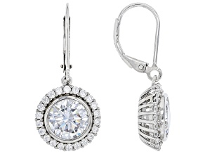 White Cubic Zirconia Rhodium Over Sterling Silver Earrings 8.01ctw