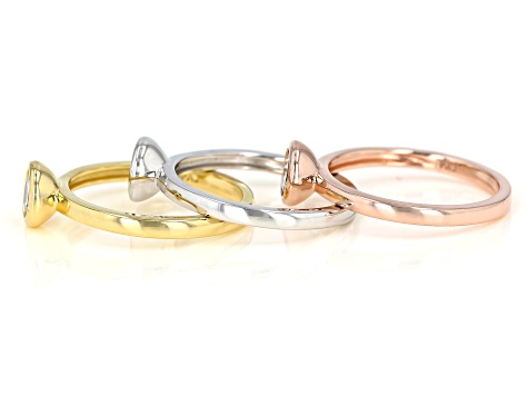 White Cubic Zirconia Rhodium And 18K Yellow And Rose Gold Over Sterling Silver Ring Set 2.43ctw