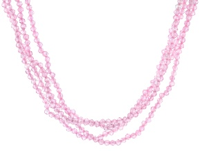 Pink Cubic Zirconia Bead Necklace Approximately 122.57ctw