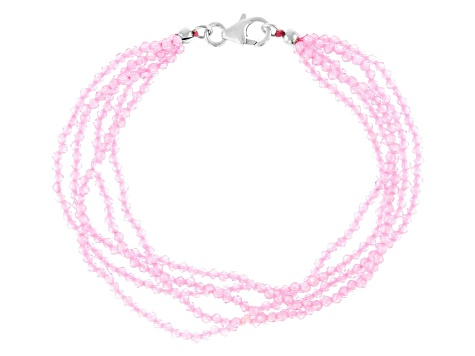Pink Cubic Zirconia Bead Bracelet Approximately 50.75ctw