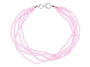 Pink Cubic Zirconia Bead Bracelet Approximately 50.75ctw