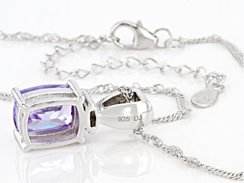 Purple And White Cubic Zirconia Rhodium Over Sterling Silver Pendant With Chain 5.49ctw