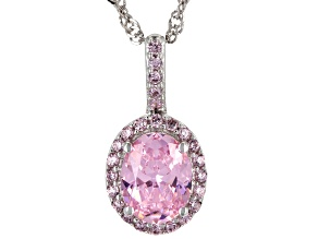 Pink Cubic Zirconia Rhodium Over Sterling Silver Pendant With Chain 3.57ctw
