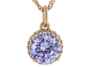 Purple And White Cubic Zirconia 18K Rose Gold Over Sterling Silver Pendant With Chain 3.79ctw