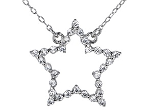 White Cubic Zirconia Rhodium Over Sterling Silver Star Necklace 0.45ctw