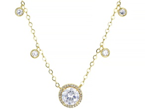 White Cubic Zirconia 18k Yellow Gold Over Sterling Silver Necklace 2.97ctw