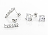 White Cubic Zirconia Platinum Over Sterling Silver Earring Set 8.19ctw