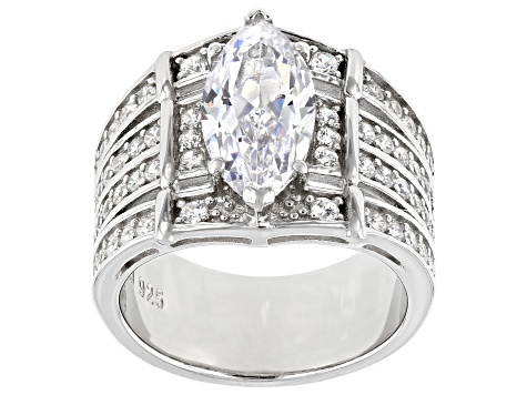 White Cubic Zirconia Rhodium Over Sterling Silver Ring With Bands 5.95ctw (3.31ctw DEW)