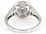 White Cubic Zirconia Rhodium And 18K Rose Gold Over Sterling Silver Ring 0.93ctw