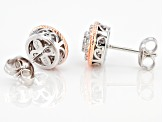 White Cubic Zirconia Rhodium And 18K Rose Gold Over Sterling Silver Earrings 0.62ctw