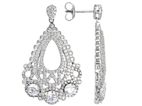 White Cubic Zirconia Rhodium Over Sterling Silver Earrings 7.18ctw