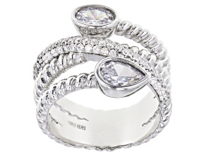 White Cubic Zirconia Rhodium Over Sterling Silver Ring 2.65ctw (1.63ctw DEW)