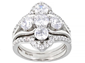 White Cubic Zirconia Rhodium Over Sterling Silver Ring With Bands 4.46ctw (2.47ctw DEW)