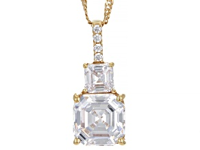 White Cubic Zirconia 18K Yellow Gold Over Silver Asscher Cut Pendant With Chain (4.89ctw DEW)
