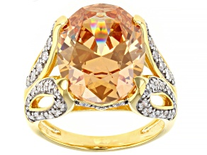 Champagne And White Cubic Zirconia 18k Yellow Gold Over Sterling Silver Ring 16.45ctw