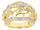 Cubic Zirconia 18k Yellow Gold Over Silver Ring .76ctw