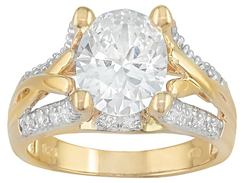 Cubic Zirconia 18k Yellow Gold Over Silver Ring 5.01ctw