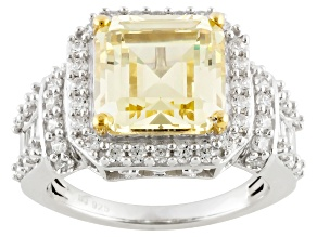 Yellow And White Cubic Zirconia Silver Ring 10.79ctw