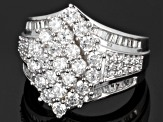 Cubic Zirconia Rhodium Over Sterling Silver Ring 4.05ctw