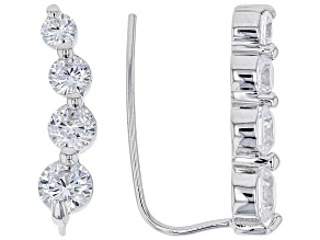 Cubic Zirconia Silver Earrings 2.56ctw