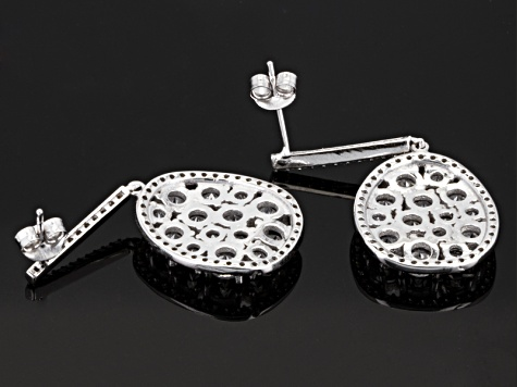 Cubic Zirconia Silver Earrings 11.20ctw