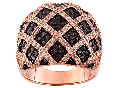 Brown And White Cubic Zirconia 18k Rose Gold Over Silver Ring 2.16ctw