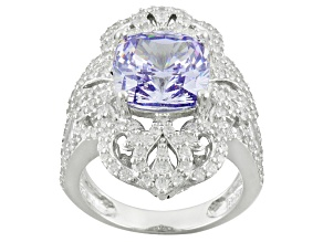 Lavender And White Cubic Zirconia Silver Ring 10.45ctw