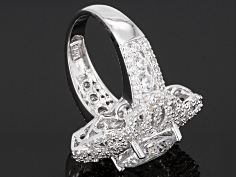 Cubic Zirconia Silver Ring 10.45ctw