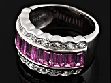 Pink And White Cubic Zirconia Silver Ring 3.23ctw
