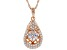 Cubic Zirconia 18k Rose Old Over Silver Pendant With Chain 1.86ctw