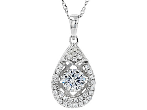 Cubic Zirconia Rhodium Over Sterling Silver Pendant With Chain 1.86ctw