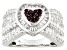Synthetic Ruby And White Cubic Zirconia Sterling Silver Heart Ring 3.00ctw