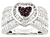Red Lab Created Ruby And White Cubic Zirconia Rhodium Over Sterling Silver Heart Ring 3.00ctw