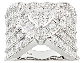 White Cubic Zirconia Rhodium Over Sterling Silver Heart Ring 5.41ctw