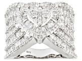 White Cubic Zirconia Sterling Silver Heart Ring 5.41ctw