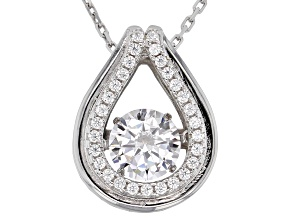 Cubic Zirconia Rhodium Over Sterling Silver Pendant With Chain 1.81ctw