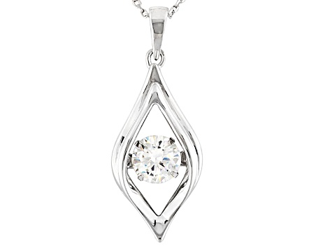 White Cubic Zirconia Sterling Silver Pendant With Chain 1.43ct
