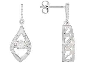 White Cubic Zirconia Sterling Silver Earrings 1.29ctw