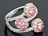 Pink And White Cubic Zirconia Silver Ring 4.04ctw