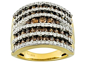 Brown And White Cubic Zirconia 18k Yellow Gold Over Silver Ring 4.65ctw