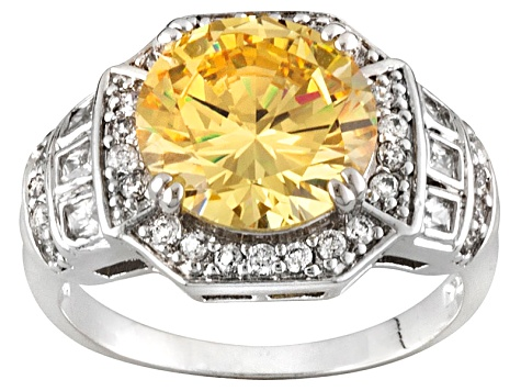 Yellow And White Cubic Zirconia Silver Ring 7.22ctw