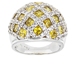 Yellow And White Cubic Zirconia Sterling Silver Ring 7.60ctw