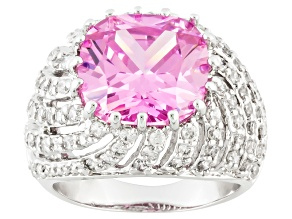 Pink And White Cubic Zirconia Silver Ring 15.36ctw (8.25ctw DEW)