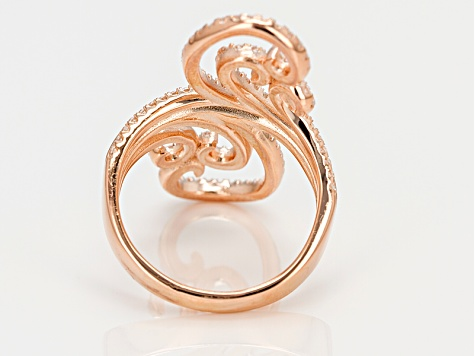 Cubic Zirconia 18k Rose Gold Over Silver Ring 1.28ctw (.64ctw DEW)